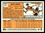 2012 Topps Heritage #432  Matt Joyce  Back Thumbnail