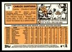 2012 Topps Heritage #72  Carlos Santana  Back Thumbnail