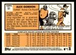 2012 Topps Heritage #51  Alex Gordon  Back Thumbnail
