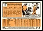 2012 Topps Heritage #170  Lonnie Chisenhall  Back Thumbnail