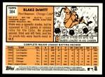 2012 Topps Heritage #384  Blake DeWitt  Back Thumbnail