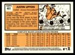 2012 Topps Heritage #481  Justin Upton  Back Thumbnail
