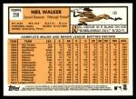 2012 Topps Heritage #259  Neil Walker  Back Thumbnail
