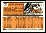 2012 Topps Heritage #375  Daniel Descalso  Back Thumbnail