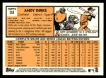 2012 Topps Heritage #240  Andy Dirks  Back Thumbnail