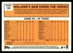 2012 Topps Heritage #145   -  Derek Holland World Series Game #4 - Holland's Gem Evens the Series Back Thumbnail