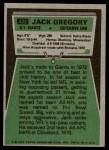 1975 Topps #422  Jack Gregory  Back Thumbnail