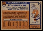 1976 Topps #361  Po James  Back Thumbnail
