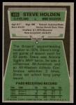 1975 Topps #489  Steve Holden  Back Thumbnail