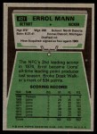 1975 Topps #421  Errol Mann  Back Thumbnail