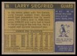 1971 Topps #36  Larry Siegfried   Back Thumbnail