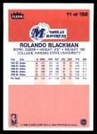 1986 Fleer #11  Rolando Blackman  Back Thumbnail