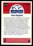 1986 Fleer Sticker #4  Alex English  Back Thumbnail