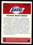 1986 Fleer Sticker #1  Kareem Abdul-Jabbar  Back Thumbnail