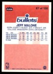 1986 Fleer #67  Jeff Malone  Back Thumbnail
