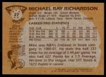1981 Topps #27  Michael Ray Richardson  Back Thumbnail