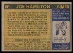 1971 Topps #164  Joe Hamilton  Back Thumbnail