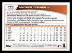 2013 Topps #393  Andres Torres  Back Thumbnail