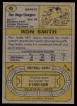 1974 Topps #45  Ron Smith  Back Thumbnail