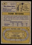1974 Topps #94  Tom Myers  Back Thumbnail