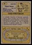 1974 Topps #81 ONE Ted Fritsch Jr  Back Thumbnail