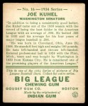 1934 Goudey #16  Joe Kuhel  Back Thumbnail