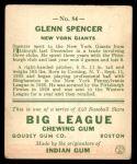 1933 Goudey #84  Glenn Spencer  Back Thumbnail