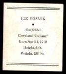 1933 Tattoo Orbit R305 #56  Joe Vosmik   Back Thumbnail