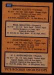 1978 Topps #707   -  Paul Molitor / Alan Trammell / Mickey Klutts / UL Washington Rookie Shortstops Back Thumbnail