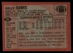 1983 Topps #70  Billy Sims  Back Thumbnail