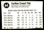 1976 Hostess #64  Carlton Fisk  Back Thumbnail