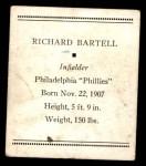 1933 Tattoo Orbit R305 #4  Dick Bartell   Back Thumbnail