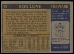 1971 Topps #45  Bob Love  Back Thumbnail
