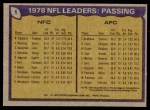 1979 Topps #1   -  Roger Staubach / Terry Bradshaw Passing Leaders Back Thumbnail
