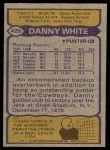 1979 Topps #429  Danny White  Back Thumbnail