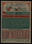 1973 Topps #60  Bob Love  Back Thumbnail