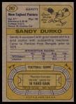 1974 Topps #247  Sandy Durko  Back Thumbnail