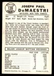 1960 Leaf #139  Joe DeMaestri  Back Thumbnail