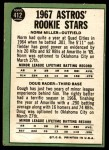 1967 Topps #412   -  Doug Rader / Norm Miller Astros Rookies Back Thumbnail