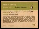 1961 Fleer #27  Bill Stacy  Back Thumbnail