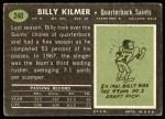 1969 Topps #240  Billy Kilmer  Back Thumbnail