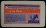 1970 Topps Super #10  Greg Cook     Back Thumbnail