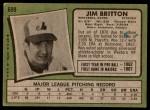 1971 Topps #699  Jim Britton  Back Thumbnail