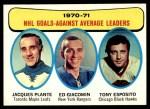 1971 Topps #6   -  Jacques Plante / Ed Giacomin / Tony Esposito Goals Against AVG Leaders Front Thumbnail