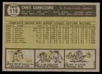 1961 Topps #118  Chris Cannizzaro  Back Thumbnail