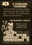 1966 Topps Batman -  Riddler Back #18   Fearsome Foursome Back Thumbnail
