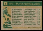1971 Topps #6   -  Jacques Plante / Ed Giacomin / Tony Esposito Goals Against AVG Leaders Back Thumbnail