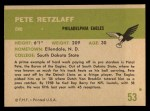 1961 Fleer #53  Pete Retzlaff  Back Thumbnail