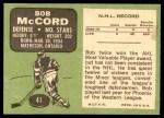 1970 Topps #41  Bob McCord  Back Thumbnail