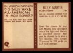 1967 Philadelphia #6  Billy Martin   Back Thumbnail
